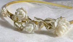 White Rose Fantasy - Vintage White Rose and Gold Repurposed Headband via Etsy