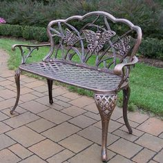 Oakland Living Butterfly Cast Aluminum Patio Bench - Antique Bronze