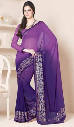 G3 fashions Purple Georgette Printed Party wear Saree  Product Code : G3-LS11896 Price : INR RS 1496