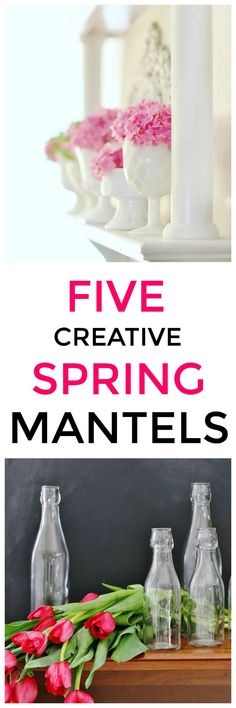 Looking for creative spring mantel ideas? Here are some of my favorites that I've ever created and a little spring inspiration, too. #spring #mantel #homedecor #springdecor