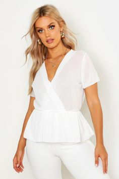 Womens Plus Woven Wrap Peplum Blouse - white - 20 Uk Size 16, Slogan Making, Woven Wrap, Peplum Blouse, Pop Fashion, Off The Shoulder, 2020 Vision, Plus Size, My Style