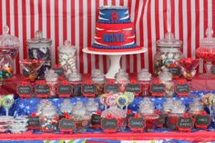 Beyblade Lolly Buffet. Beyblade party food. Decoration