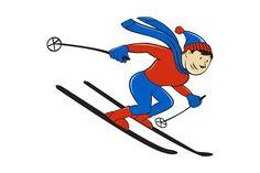 Skier Skiing Side Isolated Cartoon by patrimonio on Ski Drawing, Cartoon Drawings, Cartoon Illustrations, Cartoon Styles, Skiing, Original Paintings, Canvas Art, Wall Art, Artwork