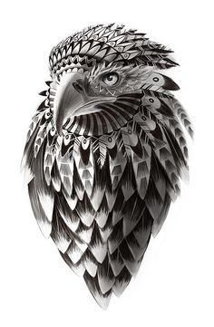 Black and white ornate rendered Shaman eagle