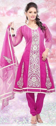 Outstanding salwar-kameez ,superb pink colour dress with silver border and design.....  Buy @-> http://www.indianweddingsaree.com/SalwarProduct/89908.html