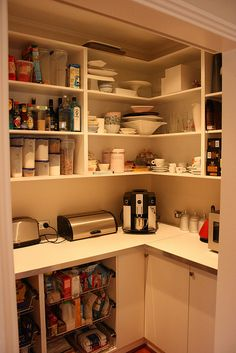 Pantry with electrical outlets for small appliances we use often.