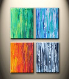 four seasons 3 original abstract thick texture by maggyart on Etsy