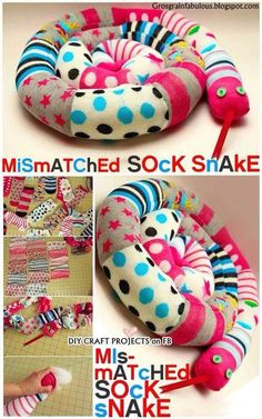 Warner Makes me think of Caitlyn DIY Mismatched Sock Snake - too bad all may mismatched socks are either black, brown or blue. Looks like I'm going to have to by some extra fun socks and lose the one. Sock Crafts, Clothes Crafts, Baby Crafts, Fabric Crafts, Fun Crafts, Sewing Crafts, Crafts For Kids, Crafts With Socks, Old Baby Clothes