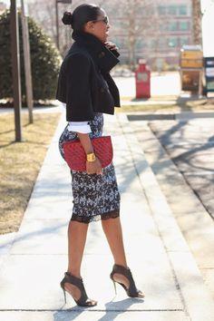 DIY high waist faux lace pencil skirt-Beaute' J'adore
