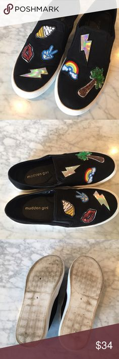 "Madden Girl Slip On Sneakers Sz 9 Super fun Women's MADDEN GIRL Slip On Sneakers with fun Comic Emoji patches! Women's Sz 9, only worn once or twice because they run a tad too narrow for my feet. I have wide feet and they do fit me, but not as comfy as I would like. I ALMOST kept them though because they are SO fun! ✨ Faux suede upper, Double elastic inserts for comfort fit, Patch work detailing, 1"" vulcanized rubber sole. 😍 Please see pictures and ask any questions! Madden Girl Shoes…"