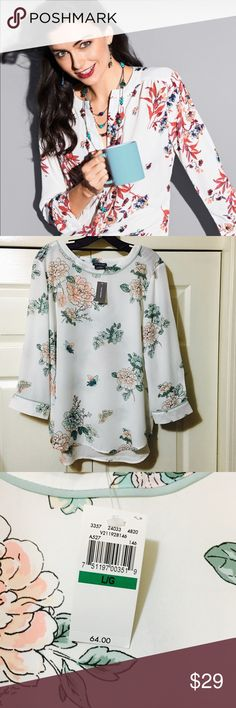 NWT VAN HEUSEN 3/4 FLORAL TUNIC Beautiful tunic by Van Heusen, BNWT. Subtle mint colored piping and soft floral detail. Looks great layered or as a stand alone piece. Slight boat neck, 3/4 sleeves, slightly longer in the back. Comes from a smoke free home. Bundle & save!  Note: Cover photo for reference only, all other pics are of actual tunic. Van Heusen Tops Tunics