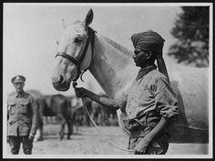 WW1 Indian cavalryman with British officer 1918