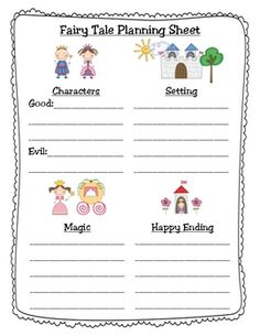 Guide to writing Fairy Tales. This would be pretty advanced for my TEFL babies but something to consider down the road. Check out the website for Kindergarten Writing, Teaching Writing, Writing Activities, Literacy, Traditional Literature, Traditional Tales, Fairy Tale Activities, Fractured Fairy Tales, Fairy Tales Unit