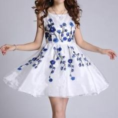 Embroidery embroidered dres..
