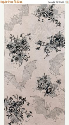 20% Off Angela's Attic Alexander Henry Floral Toile Print, Spider Webs, Lace Patterned Bats, Lt Gray with Gray Accents, 100 Percent Cotton F
