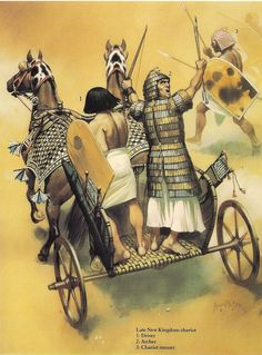 Late New Kingdom Egyptian chariot and chariot runner - art by ANGUS McBRIDE ~ contrary to popular belief, ancient chariots did NOT ram into the enemy. Chariots were very expensive to maintain and would never have been wasted like that. They were shooting platforms, primarily, but also terrified and demoralized enemy infantry. Most battles, in history, have been lost before a single shot was fired, just by one side losing heart even before the battle.