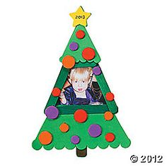 Craft Stick Photo Frame Christmas Tree Craft   Using dot stickers or foam circles perfect mommy and me craft ages 2 -4