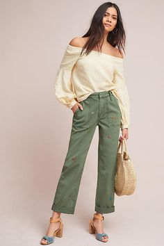 Embroidered Boyfriend Utility Pants #ad #AnthroFave #AnthroRegistry Anthropologie