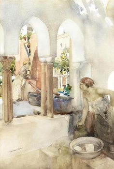 William Russell Flint - A Courtyard at Amalfi