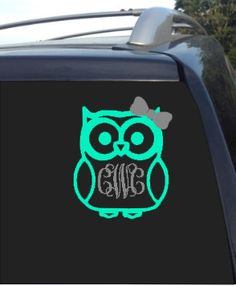 Monogram Owl Decal Car Decal Monograms And Owl - Monogram decal on car