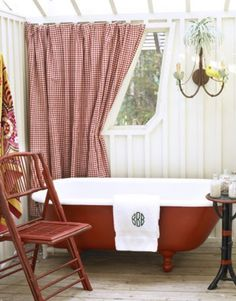 surprising red and white bathroom   My French Country Guest Bath...with a Surprising Shower ...