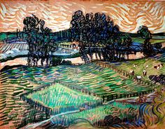 Landscape with Bridge across the Oise - Vincent van Gogh . Created in Auvers-sur-Oise in June, Located at Tate Gallery Van Gogh Watercolor, Vincent Van Gogh, Desenhos Van Gogh, Van Gogh Arte, Van Gogh Pinturas, Van Gogh Landscapes, Artist Van Gogh, Tate Gallery, Impressionist