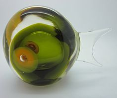 Vintage Modern Glass Fish Green with Big by thelazydogantiques