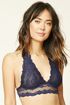 An unpadded semi-sheer knit bralette with halter straps, a V-neckline, floral lace with scalloped trim, and a triple hook-eye back closure. Jolie Lingerie, Best Lingerie, Luxury Lingerie, Vintage Lingerie, Cute Bras, School Girl Outfit, Mode Boho, Moda Casual, Trendy Swimwear