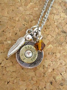 Bullet casing necklace - Ammo charm with amber crystal and silver feather - charm necklace  #Jewelry #Necklace #Charmjewelry #valentinesday #valentine #silver #pendant #ammo #bullet #bulletshell #amber #feather #boho #crystal