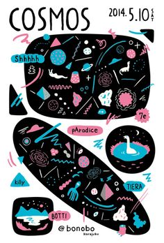 Love the colours and the childlike renderings in this convert flyer for Cosmos by Asuka Watanabe - 2014.
