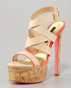 Ruthie Davis® Beige Corkplatform Sandal