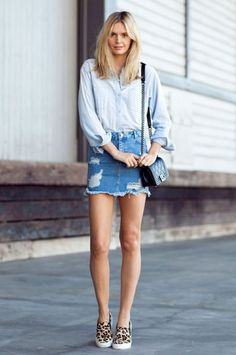 A double-denim look is perfect for your off-duty outfit, plus slip-on sneakers offer a stylish way to run errands in comfort. On Jessica Stein of Tuula Vintage: Madewell Perfect Chambray. Double Denim Looks, Denim On Denim Looks, Looks Jeans, Denim Mini Skirt, Jean Skirt, Ripped Denim, Denim Skirts, Black Denim, Skinny Jeans
