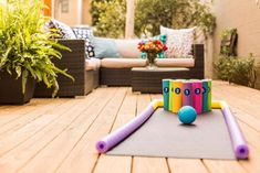 Use a yoga mat, pool noodles and chip cans to create a fun and colorful backyard bowling alley. Use a yoga mat, pool noodles and chip cans to create a fun and colorful backyard bowling alley. Outdoor Games For Kids, Backyard For Kids, Backyard Games, Backyard Landscaping, Diy For Kids, Lawn Games, Backyard Camping, Outdoor Bowling, Outdoor Toys