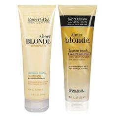Shampoo e Condicionador Sheer Blonde Lustrous Touch, da John Frieda: linha de produtos desenvolvida especialmente para o tratamento de cabelos loiros. Fórmulas inovadoras ativam os reflexos, recuperam a cor instantaneamente e doam brilho a todas as tonalidades de loiro, sem adicionar ou retirar coloração. Aonde comprar: Sephora. Quanto: 5 x R$ 10,60