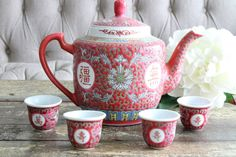 Vintage Chinese Famille Rose Tea Set Teapot With by HouseOfAndaloo$60 etsy