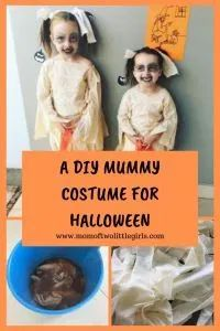 A Kids DIY Mummy Costume For Halloween - Make it yourself. Easy to make, very little skill required. Simply stain the material using dark tea, rip it into strips and stitch it together to resemble a top and skirt. #halloweencostume #mummycostume #diykidshalloweencostume #kidshalloweencostume