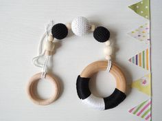 Set of 3 Wooden Baby gym toys Hanging toys Natural baby toy