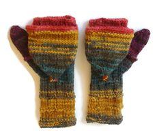 convertible fingerless mittens / colorful fingerless gloves / crochet knit gloves , batik design