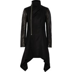 Rick Owens Oblique Biker leather-paneled wool coat ($1,523) ❤ liked on Polyvore featuring outerwear, coats, black, leather sleeve coat, biker coat, wool coat, woolen coat and wool leather coat