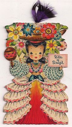 Image detail for -Hallmark Doll Card Rita of Brazil 1948 Unused from milkweedantiques on ...