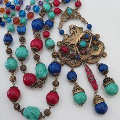 Vintage Art Deco Czech Glass Neiger Bros. Sautoir Dangle Flapper Necklace