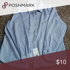 Foxcroft button down Blue and white striped wrinkle free Foxcroft Tops