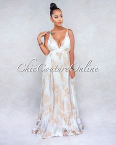 a3a095f31e3 Galicia Off-White Gold Floral Print Maxi Dress