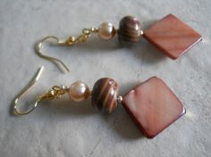 Pearl Jewelry Brownstone Natural Cut Gemstone Beaded Earrings Forest Brown Mother of Pearl Shell Earrings Earth Toned. $15.00, via Etsy.
