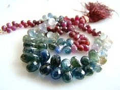 1/2 Strand AAATeal Blue Green and Red Songea Sapphire by norah62, $79.99