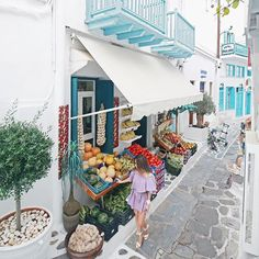 Mykonos , Greece ... Stumbled upon this fruit store and bought a couple of kg of fruits! Best fruits I had in my life. Not joking. The figs and peaches were so amazing!