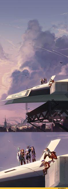 ME art,фэндомы,ME персонажи,Femshep,Commander Shepard,Liara,Garrus,Tali,Jeff…