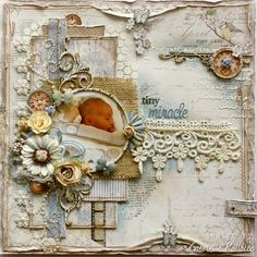 Scrapbook layout made by Maja Design team member Gabrielle Pollacco using Vintage Spring and Autumn Basics and Dusty Attic Chipboard Baby Scrapbook Pages, Vintage Scrapbook, Scrapbook Sketches, Scrapbook Page Layouts, Scrapbook Cards, Album Vintage, Tiny Miracles, Mixed Media Scrapbooking, Attic Design