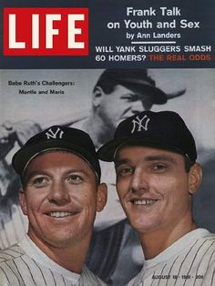 Roger Maris and Mickey Mantle compete to beat Babe Ruth's record of 60 home runs. Maris hits number 61 on October 1.