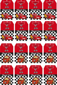 Disney Cars Birthday Party Thank You Tags Printable baby